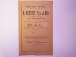 GP 2021 - 74  Deux Brochures 2 Volets De Pépinières  1926 - 1927  (Molèges 13 Et Villefranche-en-Beaujolais 69)   XXX - Sin Clasificación