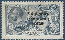 Irlande état Libre D'Irlande 1925 N°54* 10sh Bleu Surcharge 6mm Tres Frais TTB - Ongebruikt
