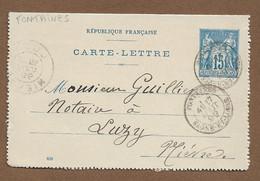 Saône Et Loire : FONTAINES : 1899 :  Cachet à Date  Type 19 Sur Entier Postal Sage 15c Bleu ( N°90 ) - 1877-1920: Periodo Semi Moderno