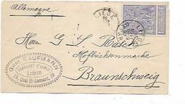 "SH 0837. ARMES. N° 71 LIEGE/DEPART 16 NOVE 1897 S/Lettre - Cach. ""GUST KAUFMANN/Fabricant D' ARMES/LIEG - V.Braunschweig - 1894-1896 Expositions"