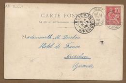 Saône Et Loire : RULLY : 1902  :  Cachet à Date  Type 19 Sur Mouchon 10c Rouge ( N° 116 ) : - 1877-1920: Periodo Semi Moderno