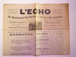 """GP 2021 - 82  Journal  """"L'ECHO De Barbotan-les-Bains Et De L'ARMAGNAC""""  1906  (4 Pages)   XXX - Sin Clasificación"""