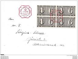 """38 - 58a -  Enveloppe Avec Bloc De 4 Timbre """"centenaire Du Timbre Suisse"""" Et Oblit Spéciale 1943 Zürich - Marcophilie"""