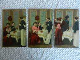 Série De 3 CPA   HUMOUR  COUPLE     LITHO   J.C PARIS - Couples