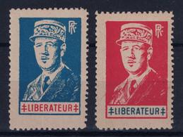 """LIBERATION DE LYON SÉRIE De 2 VIGNETTES DE GAULLE """" LIBÉRATEUR """" N° 5 & 6 NEUF ** - Liberation"""