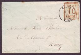 MEURTHE - LSC - T49 DELME (1871) Sur 10c Bistre Brun Alsace-Lorraine (5) Pour Nancy (52) - Alsace Lorraine