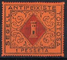 Sello Viñeta TORTOSA (Tarragona) 1 Pta Naranja, Segell Antifeixiste, Guerra Civil, Dentado Troquel * - Viñetas De La Guerra Civil