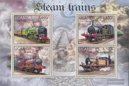 Uganda 2881-2884 Sheetlet (complete Issue) Unmounted Mint / Never Hinged 2012 Steam Locomotives - Uganda (1962-...)