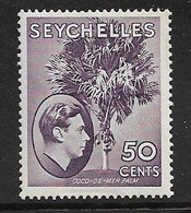 SEYCHELLES 1938 50c DEEP REDDISH VIOLET SG 144 CHALK SURFACED PAPER MOUNTED MINT Cat £20 - Seychellen (...-1976)