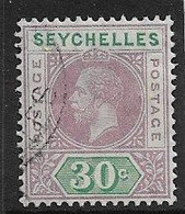 SEYCHELLES 1918 30c SG 90 DIE I FINE USED Cat £19 - Seychellen (...-1976)