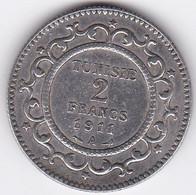 Tunisie Protectorat Français 2 Francs 1911 A (AH 1329) En Argent. - Tunesië