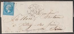 N°22  étoile 10, Petite Rue Du Bac Sur Lettre De Paris Pour Vitry Sur Seine - 1862 Napoleon III