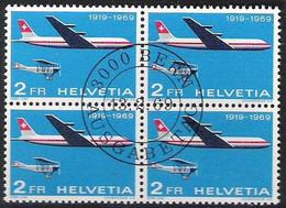 """Schweiz Suisse 1969:  50 Jahre Luftpost"""" PRO AERO Zu 465 Mi 899 Yv PA46 Block Mit ET-Stempel BERN 13.2.69 (Zu CHF 12.00) - Gebraucht"""