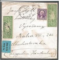 USA 1936, Envelope, Air Mail, Letter New York - Praha, Zeppelin Hindenburg - 1c. 1918-1940 Briefe U. Dokumente