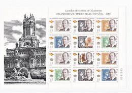 España 2000 Minipliego Del 150 Aniversario Del Primer Sello Español. - Blocs & Hojas