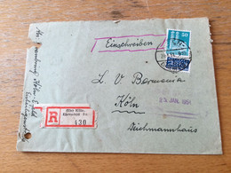 K17 Alliierte Besetzung 1951 R-Ortsbrief Von Köln-Ehrenfeld - Zona Anglo-Americana