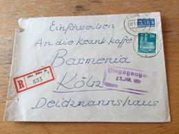 K17 Alliierte Besetzung 1951 R-Ortsbrief Von Köln - Zona Anglo-Americana
