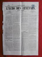 TIMBRE JOURNAL ANNULATION TYPOGRAPHIQUE L ECHO DES CEVENNES DU 27 AOUT 1870 - Journaux
