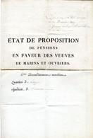 ETAT DE PROPOSITION DE PENSIONS EN FAVEUR DES VEUVES DE MARINS ET OUVRIERS -  QUARTIER DE LANGON SYNDICAT DE TONNEINS - Documenti Storici