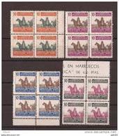MABE32BL4-L4067TEUROPESPBENEF.Maroc.Marocco.MARRUECOS ESPAÑOL Franco A Caballo. Beneficencia 1945 (Ed 32/5**BL4 ) S/c. - Beneficiencia (Sellos De)