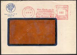 """España - Sobre Con Franqueo Mecánico """"Madrid 22/11/54 - Visite España Con Las Rutas Turísticas Melia - 0,80"""" - 1951-60 Lettres"""