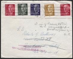"""España - Edi O 1143,1144,1145 - De Barcelona A EEUU + Marca """"Misdirected Correct - Postoffice Is Los Angeles Calif"""" - 1951-60 Lettres"""