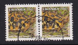 Uganda: 1996/98   Reptiles  SG1521   700/-    Used Pair - Uganda (1962-...)