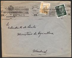 """España - Edi O 1145 + Patriótico - Sobre """"Huesca 7/5/57"""" A Madrid Y Rodillo """"Ahorrad - La Caja Postal De Ahorros.."""" - 1951-60 Lettres"""