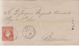 Año 1856 Edifil 48 4c Isabel II Envuelta Matasellos Rejilla Berga Barcelona Tipo II - Briefe U. Dokumente