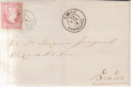 Año 1856 Edifil 48 4c Isabel II Envuelta Matasellos Rejilla Berga Barcelona Tipo I - Briefe U. Dokumente