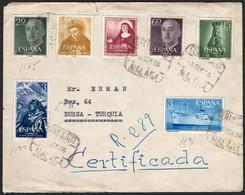"""España - Edi O 1145 - 1120 - 1191 - """"Certificado 5/9/56 - Málaga"""" A Turquía - 1951-60 Lettres"""