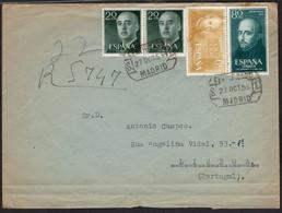 "España - Edi O 1145(2) + 1167 + 1168 - ""Certificado 27/10/55 - Madrid"" A Portugal - 1951-60 Lettres"