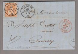 CH Sitzende H. 1864-11-22 Genève Grenzrayonbrief Nach Annecy Mit 20Rp.orange Sitzende Helvetia - Briefe U. Dokumente