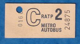 Ticket Ancien - RATP / Métro / Autobus - C - PARIS - 0160 - Billet - 24875 - 2e Classe - Unclassified
