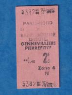 Ticket Ancien De Train ? RER ? - Gare PARIS NORD - Ormesson Deuil Gennevilliers Pierrefitte - Zone 4 - Unclassified