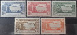 R2452/193 - 1940 - COLONIES FR. - MAURITANIE - POSTE AERIENNE - SERIE COMPLETE - N°1 à 5 NEUFS* - Unused Stamps