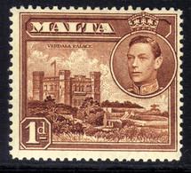 Malta 1938 - 43 KGV1 1d Red Brown MM SG 219 ( G264 ) - Malta (...-1964)