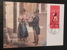 """Carte Journée Du Timbre """" Le Facteur Et Son Vélo """" Nancy 1993 Timbre N° 2793 - 1990-1999"""