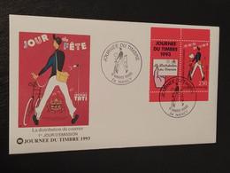 """Enveloppe Journée Du Timbre """" Le Facteur Et Son Vélo """" Nancy 1993 Timbre N° 2793 - 1990-1999"""