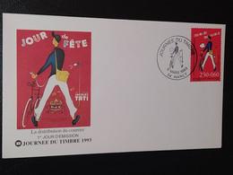 """Enveloppe Journée Du Timbre """" Le Facteur Et Son Vélo """" Nancy 1993 Timbre N° 2792 - 1990-1999"""