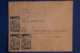 L10 MAROC BELLE LETTRE 1947 CASABLANCA  POUR ST FELIX FRANCE +BLOC DE 3 T.P + AFFRANCH. PLAISANT - Briefe U. Dokumente