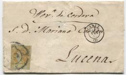 1861. Envuelta De Cadiz A Lucena (Córdoba) RC 3 Azulada Y Llegada - Briefe U. Dokumente