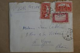 L10 ALGERIE  LETTRE 1938 PAR AVION ORAN POUR LYON FRANCE + AFFRANCH. INTERESSANT - Lettres & Documents