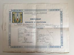 LOT DE DOCUMENTS ET PHOTOS CHANTIERS DE JEUNESSE N°30 SAINT PE DE BIGORRE - DONT CERTIFICAT DE MORALITE ET APTITUDE. - 1939-45