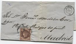 1863. Sobrescrito De Cadiz A Madrid, Al Dorso, Llegada - Briefe U. Dokumente