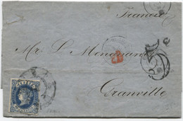 1863. Envuelta De Cádiz A Francia, Al Dorso, Tránsitos Y Llegada - Briefe U. Dokumente