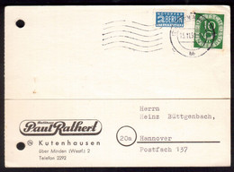 "JJ34    Bund 1951 - Karte ""Paul Rathert Textilhaus - Kutenhausen "" Nach Hannover - Posthorn + Notopfer - Cartas"
