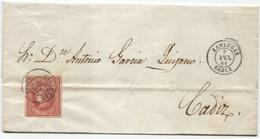 1864. Envuelta De Sanlúcar A Cádiz, Al Dorso, Llegada - Briefe U. Dokumente