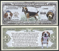 !!! USA - FANTASY NOTE -  BEAGLE  CERTIFICATE , 2017 - UNC / SERIES  K 9 - Other