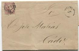1866. Correo Interior De Cádiz, Raro 2 Cuartos Rosa Ed 80 - Briefe U. Dokumente